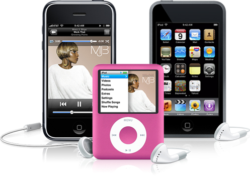 iPhone, iPod nano rosa e iPod Touch