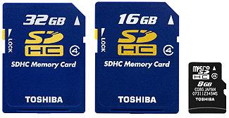 Tarxetas SDHC de Toshiba